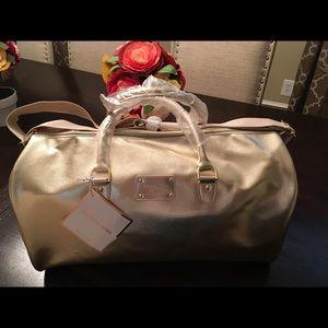 NEW Michael Kors Metallic Gold Duffle Bag Tote